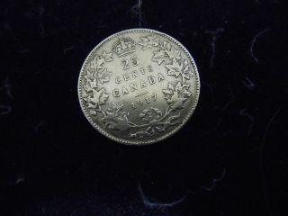 1917 Canada Twenty Five 25 Cent Silver Coin Mid To photo