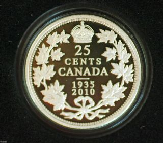 2010 Canada Ltd Edition Proof 25 Cent Coin 1935 - 2010 75th Anniv Of Silver Dollar photo