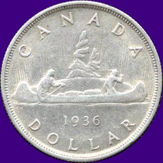 1936 Canada Silver Dollar Coin (23.  33 Grams, .  800 Silver) (no Tax) photo
