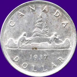1937 Canada Silver Dollar Coin (23.  33 Grams, .  800 Silver) (no Tax) photo