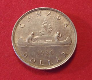 Canada Canadian 1936 Real.  800 Silver Dollar Great Brithday Gift 77 Year Old photo