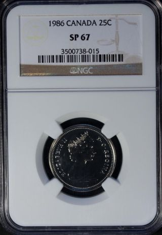 1986 Canada 25 Cents Ngc Sp 67 Unc photo