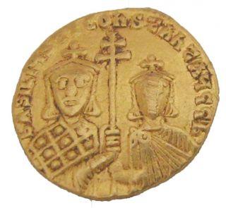 Basil I The Macedonian & Constantin867 - 886 Au Nomisma 4.  33g/20mm Constant M - 311 photo