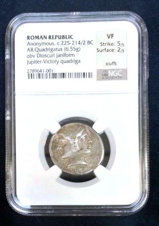 225 - 214/2 Bc Anonymous Quadrigatus Ngc Vf (ancient Roman) Jupiter - Victory photo