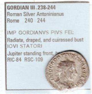 Ancient Roman Silver Antoniniaus.  Gordian Iii 238 - 244 Rome 238 - 240 Large 22 Mm photo
