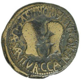 Ng Authentic Roman Bronze Coin Of Tiberius With Drusus & Nero Caesares I1416 photo