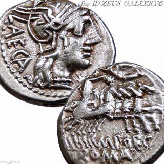 Republic Silver Coin Denarius Porcia 3 Roma Helmeted Libertas 4 Horse Chariot photo