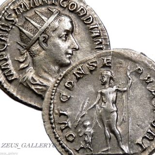 Gordian Iii Ancient Roman Silver Coin Antoninianus Jupiter Thunderbolt & Child photo
