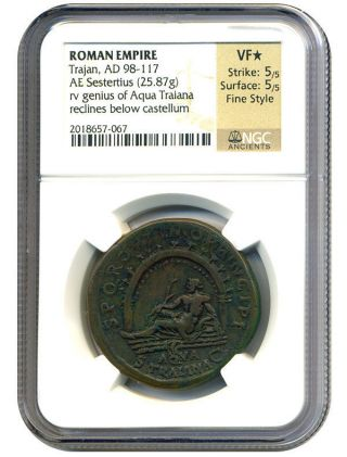 Ad 98 - 117 Trajan Ae Sestertius Ngc Vf Star (ancient Roman) photo