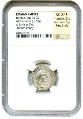 Ad 14 - 37 Tribute Penny Denarius Ngc Ch Xf (ancient Roman) photo