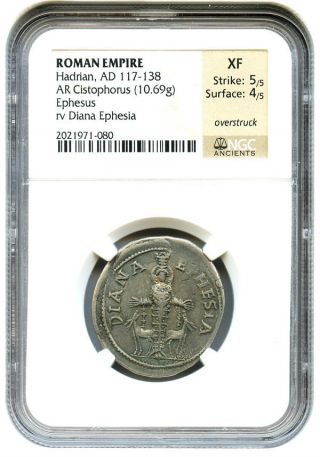 117 - 138 Ad Hadrian Ae Cistophorus Ngc Xf (ancient Roman) photo
