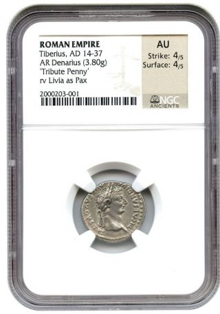Ad 14 - 37 Tiberius Ar Denarius Ngc Au (ancient Roman) photo