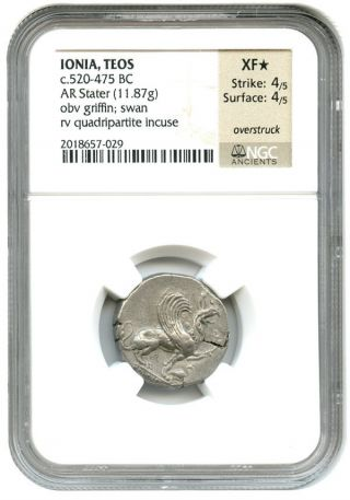 520 - 475 Bc Teos Ar Stater Ngc Xf Star (ancient Greek) photo