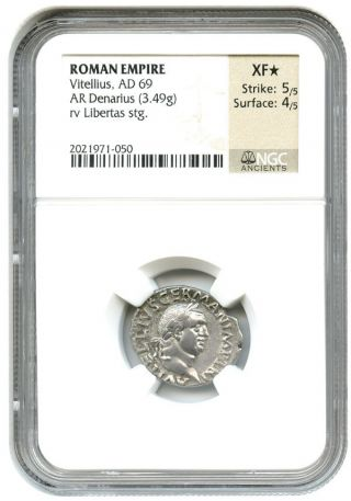 Ad 69 Vitellius Ar Denarius Ngc Ch Xf Star (ancient Roman) photo