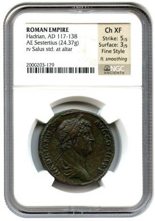 117 - 138 Ad Hadrian Ae Sestertius Ngc Ch Xf (ancient Roman) photo