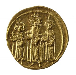 Heraclius 610 - 641 Ad Av Gold Solidus Constantinople Ancient Byzantine Coin photo