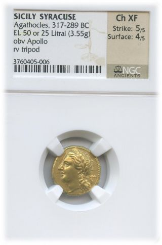 Sicily Agathocles C.  317 - 289 Bc El 50 Or 25 Litrai (3.  55g) Ch Xf | Ngc Graded photo