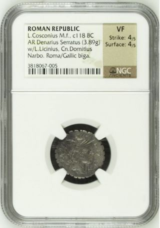 Ngc Roman Republic Silver Denarius - Serratus,  Cosconius,  Celt In Biga,  Graded Vf photo