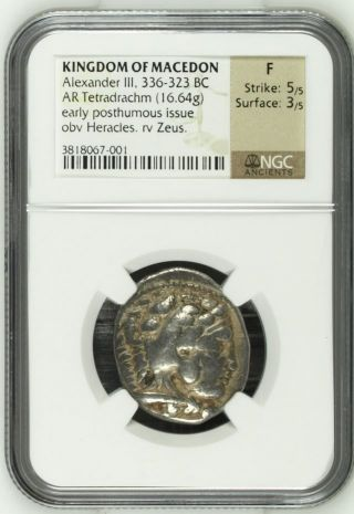Large Ngc Graded Greek Silver Tetradrachm Of Alexander The Great,  Graded F photo