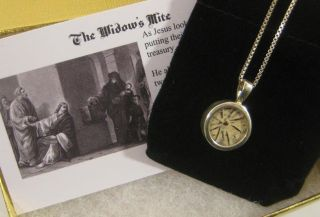 Biblical Widows Mite Coin In Sterling Silver Pendant,  Vintage Religious Jewelry photo