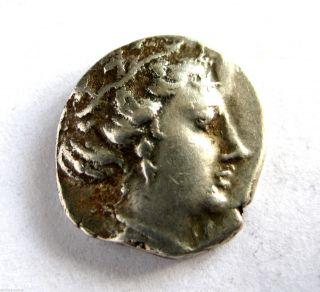 C.  250 B.  C Ancient Greece Histaea Silver Hemmi - Drachma Coin.  Vf photo