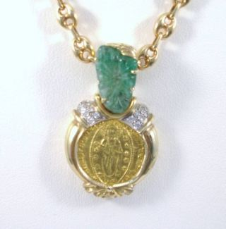 Byzantine Christ 1 Ducat Gold Coin Pendant 18k Solid 19g Emerald / Diamonds photo