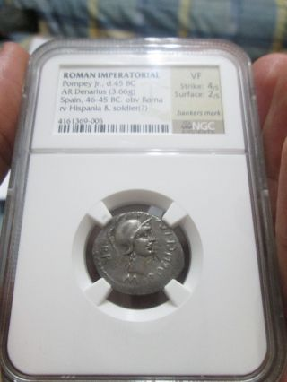 Pompey Jr Denarius 45 Bc Ngc Vf photo