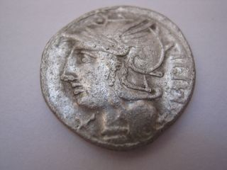 Roman Republic Denarius Of Family Baebia,  137 B.  C. photo