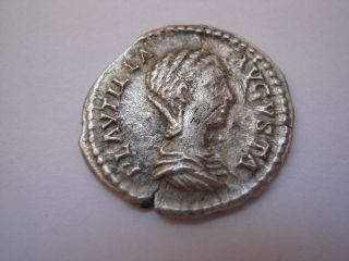 Roman Silver Denarius Of Plautilia,  202 A.  D. photo