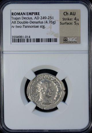 Ad 249 - 251 Roman Empire Trajan Decius Ar Double - Denarius Ngc Ch Au photo