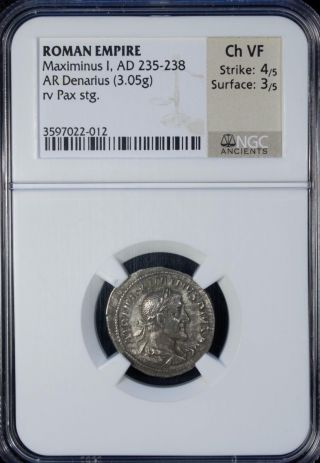 Ad 235 - 238 Roman Empire Maximinus I Ar Denarius Silver Ngc Ch Vf photo