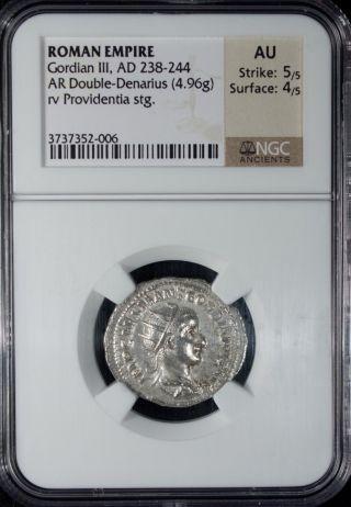 Ad 238 - 244 Roman Empire Gordian Iii Ar Double - Denarius Silver Ngc Au photo