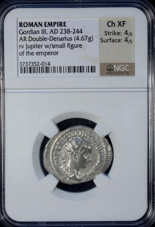 Ad 238 - 244 Roman Empire Gordian Iii Ar Double - Denarius Ngc Ch Xf photo