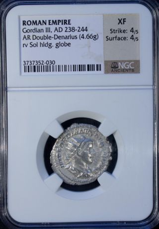 Ad 238 - 244 Roman Empire Gordian Iii Ar Double - Denarius Ngc Xf photo