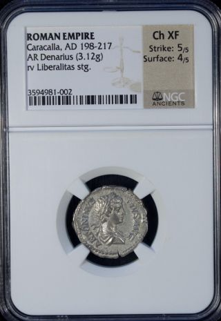 Ad 198 - 217 Roman Empire Caracalla Ar Denarius Silver Ngc Ch Xf photo