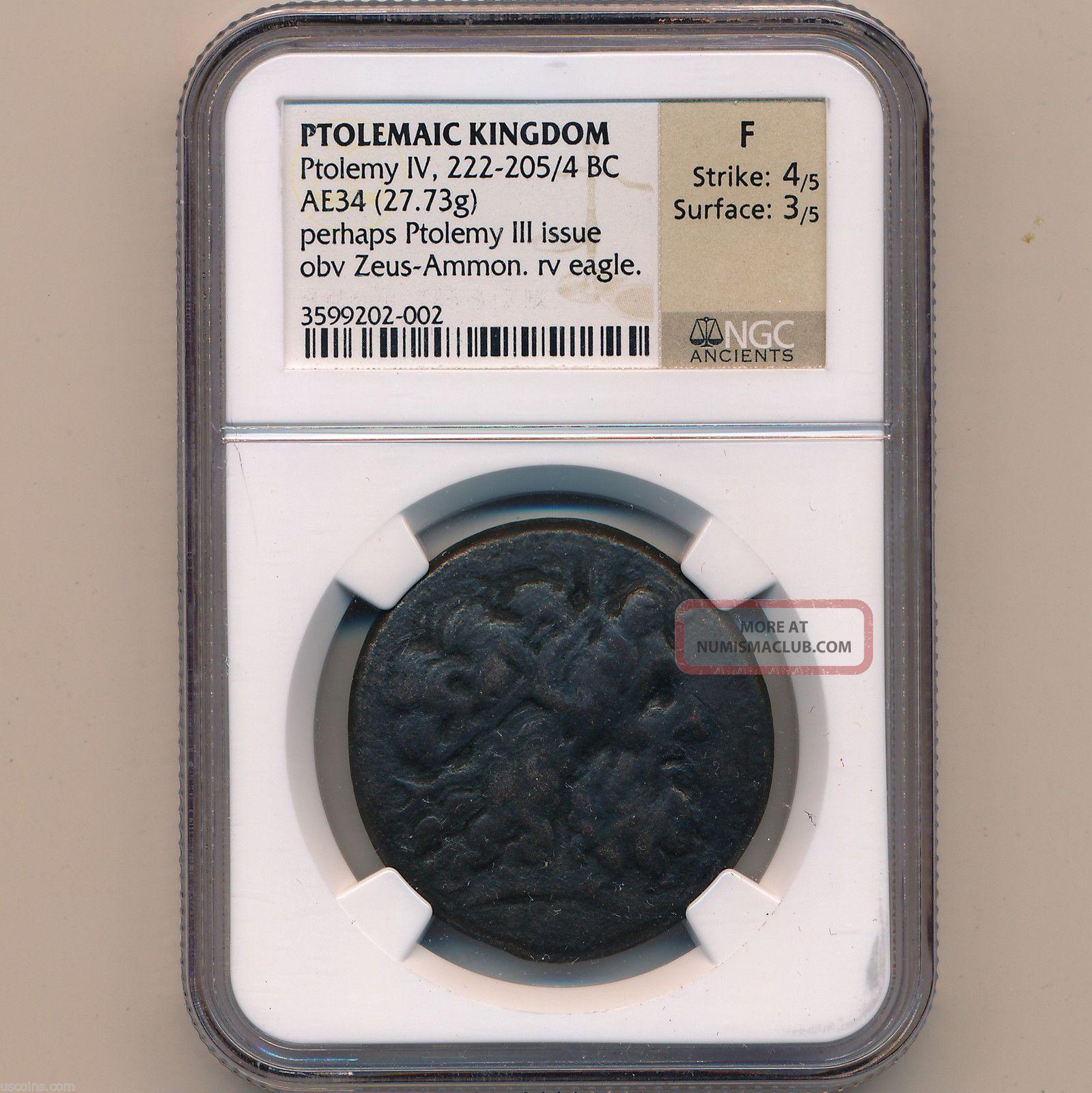 Greek Egypt Bronze Ae - 34 Ptolemy Iv 221 - 204 Bc Alexandria Ngc F 01133056b Coins: Ancient photo