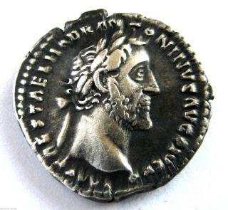 140 A.  D Emperor Antoninus Pius Roman Period Imperial Ar Silver Denarius Coin.  Ef photo
