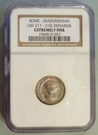 Diadumenian Rare Denarius Ngc Graded Xf Ef Extremely Fine Caesar Under Macrinus photo