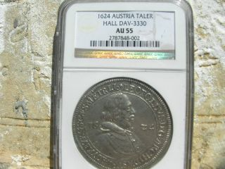 1624,  Austria Hall,  Leopold Silver Thaler,  Ngc Au 55 photo