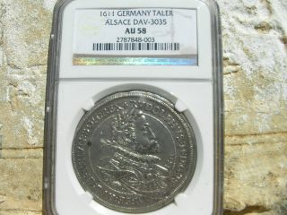 1611,  German States,  Alsace,  Rudolphus Ii,  Silver Taler,  Ngc Au 58,  Germany. photo