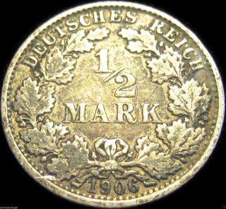 Germany - The German Empire 1906e Silver Half Mark Coin - Rare Coin photo