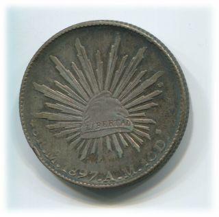 1897 Mexico Silver 8 Reales Mexico City,  Am Assayer Ch Au Wonderful Toning photo