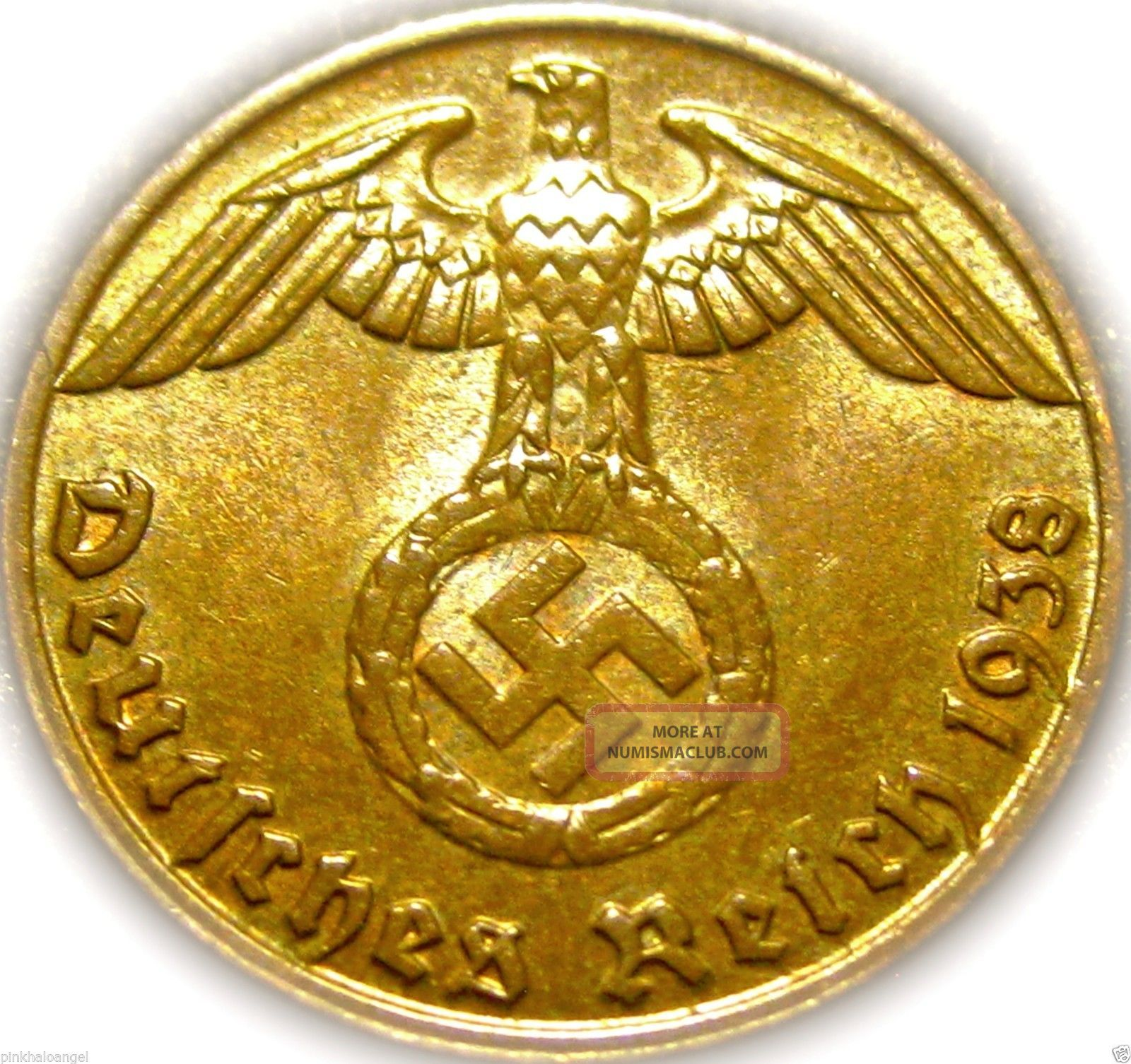 ♡ Germany - German Third Reich 1938j Reichspfennig W/ Swastika - Ww2 - Rare Coin Germany photo