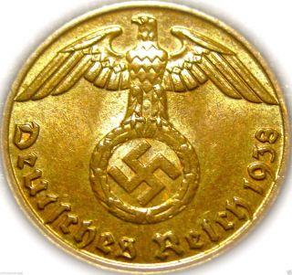 ♡ Germany - German Third Reich 1938j Reichspfennig W/ Swastika - Ww2 - Rare Coin photo