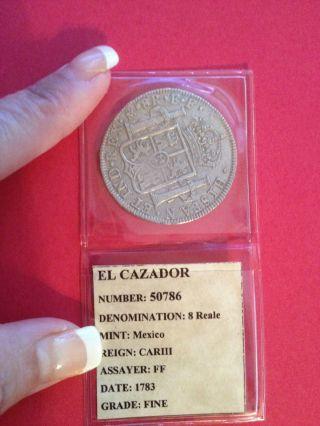 Authentic Valuable Rare 1784 El Cazador Shipwreck Coin Carlos Iii 8 Reale photo