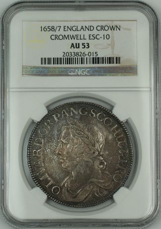 1658/7 Overdate England Silver Crown Coin Esc - 10 Cromwell Ngc Au - 53 Akr photo