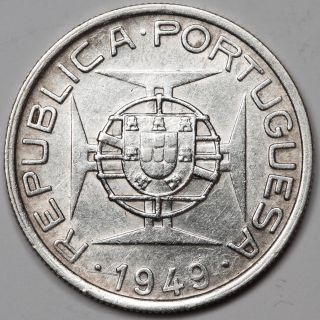 Mozambique 1949 5 Escudo 7 Gram Silver Coin Uncirculated Km 69 0.  1463 Oz Asw photo