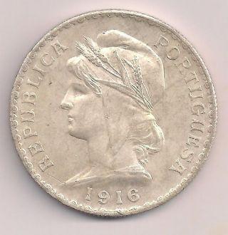 Portugal Escudo 1916 Large Crown Silver Republic Brilliant Almost Uncirculated. . photo