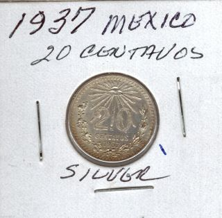 1937 Mexico 20 Centavos Silve Great Detail Au Circulated photo