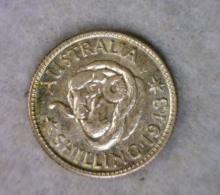 Australia Shilling 1943 S Unc Silver Coin photo